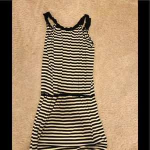 Black and white striped simple dress